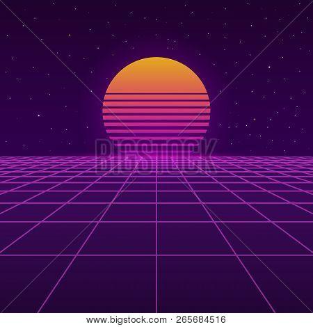 Futuristic Background The 80`s. New Retro Wave. Sunset Sun On Retro Cyber Surface. Vector Illustrati