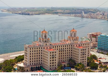 Aerial view of the Havana shore from El Vedado to the bay entrance poster