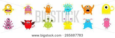 Happy Halloween. Cute Monster Icon Set. Cartoon Colorful Scary Funny Character. Eyes, Tongue, Hands