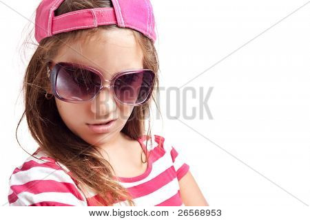 Trendy hispanic girl with sunglasses isolated on a white background