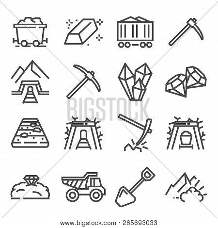 Mining Industry. Vector Outline Icons. Extraction Of Minerals From The Earth