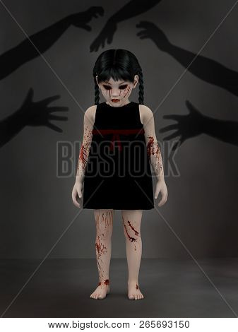 3d Rendering Of An Evil Gothic Looking, Blood Covered Small Girl Standing With Shadows Of Hands Reac