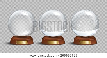 Empty Glass Snow Globe And Snow Globes With Snow On Transparent Background. Vector Christmas And New