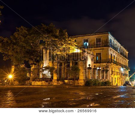 El Templete, the founding site of Havana. illuminated at night