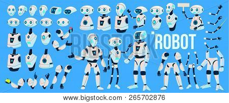 Robot Vector. Animation Set. Mechanism Robot Helper. Cyborgs, Ai Futuristic Humanoid Character. Anim
