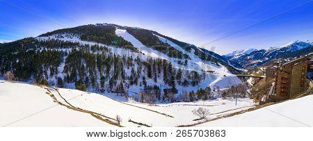 Soldeu ski resort in Andorra at Grandvalira sector Pyreenees poster