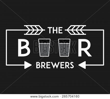 Beer Premium Brewers White On Black Is A Vector Illustration About Drinking