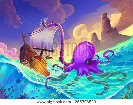The Boat Wrapped In The Octopus Tentacles On The Sea With Fantastic, Realistic And Futuristic Style.