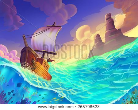 The Small Boat Caught In A Storm On The Sea With Fantastic, Realistic And Futuristic Style. Video Ga