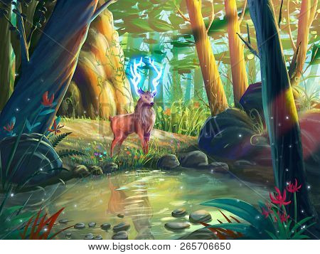 The Deer In The Forest With Fantastic, Realistic And Futuristic Style. Video Game Digital Cg Artwork