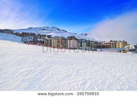 Andorra Pas de la Casa  resort in Grandvalira sector at Pyrenees mountains poster