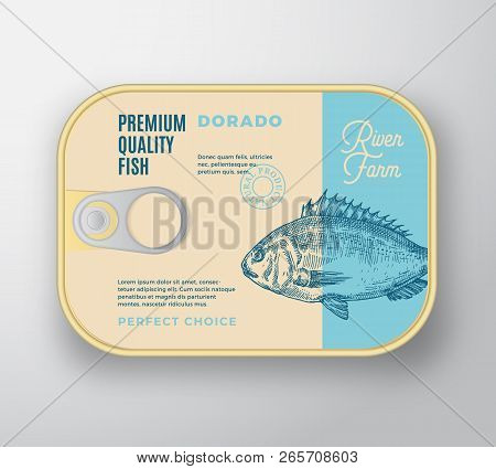 Abstract Vector Fish Aluminium Container With Label Cover. Retro Premium Canned Packaging Design. Mo