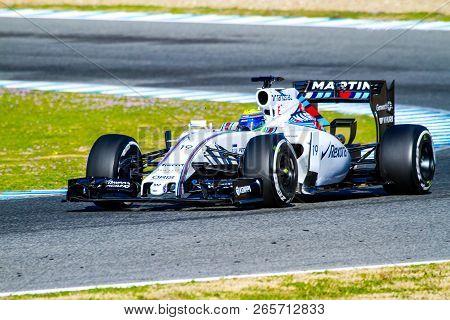 Jerez De La Frontera, Spain - Feb 04:  Felipe Massa Of Williams Martini Racing F1 Team Races On Trai