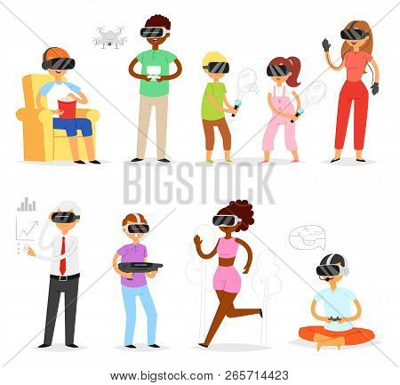 Virtual Reality Vector People In Vr Character Gamer With Vr Glasses And Person Playing In Virtually
