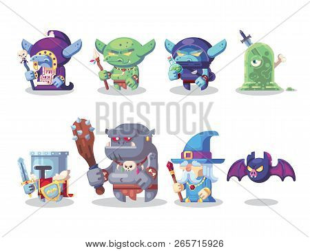 Fantasy Rpg Game Character Monster And Hero Icons Set Illustration.