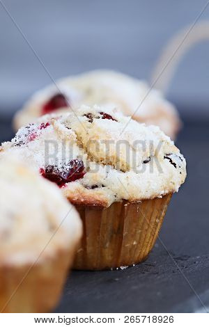 Cranberry Muffins With Lemon Sugar Topping On A Rustic Slate Serving Tray. Extreme Shallow Depth Of