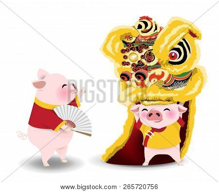 Cartoon Character For Year Of Pig. Little Pigs Performing Chinese Lion Dance On White Background. Ve