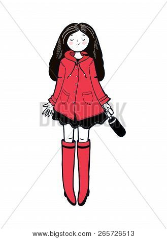 Young Woman In A Red Slicker Is Enjoying Autumn Weather. Vector Illustration.
