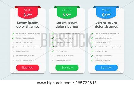Price Table Plan Vector Web Design. Product Price Plan Comparison Options Banners For Start, Smart A