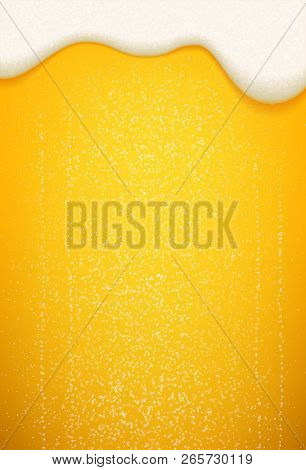Beer Foam And Bubbles Background. Vector Poster Template Of Seamless Realistic Craft Beer With Flowi