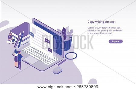 Modern Horizontal Web Banner Template With Tiny People Standing In Front Of Giant Laptop And Looking