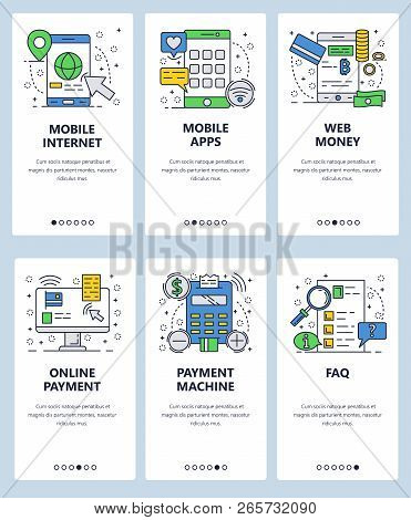 Vector Web Site Linear Art Onboarding Screens Template. Mobile Apps And Internet Online Money Paymen