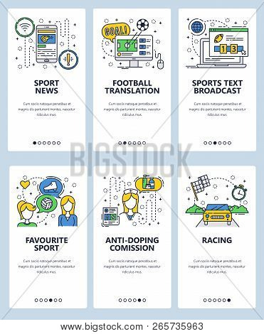Vector Web Site Linear Art Onboarding Screens Template. Sport News And Online Tv Broadcast. Favourit