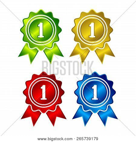Ribbons Award Best Price Label Set. Gold Ribbon Award Icon Isolated White Background. Best Quality G
