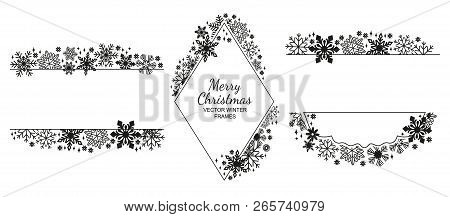 Black Snowflake Frame Set, White Background, Christmas Design Collection. Vector Illustration, Merry