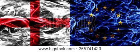 England Vs European Union, Eu Smoke Flags Placed Side By Side. Thick Colored Silky Smoke Flags Of En