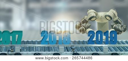 2019 Year Artificial Intelligence Or Ai Futuristic Concept,  Assistant Robot Try To Put Number Of Ne