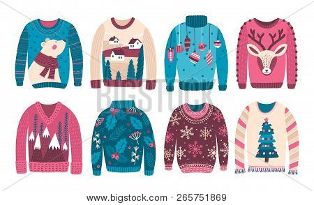 Bundle Of Ugly Christmas Sweaters Or Jumpers Isolated On White Background. Collection Of Odd Or Stra