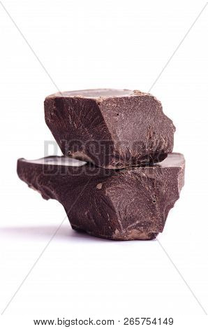 Broken Chocolate Pieces On Isolated White Background
