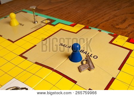 1980s Spy Game Named Cluedo With Guilty Accessories Including Weapons .kitchen Wood Table Inside A P
