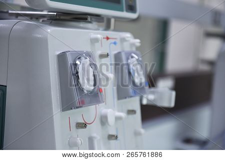 Kidney Dialysis Is Connected To The Kidney Machine. Health Care, Dialysis, Kidney Transplant, Medica