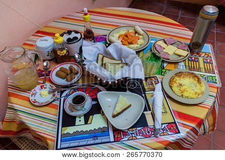 Cienfuegos, Cuba - February 11, 2016: Breakfast In A Rental Room For Tourists Casa Particular In Cie