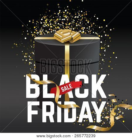 Black Friday Sale Banner. Black Friday. Black Gift With Gold Realistic Bow On The Black Background.