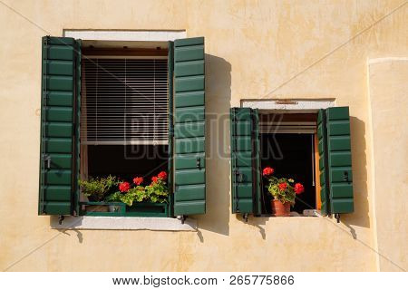 View Of House Windows With Shutter In The Old Town Venice Italy