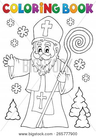 Coloring Book Saint Nicholas Topic 1 - Eps10 Vector Illustration.