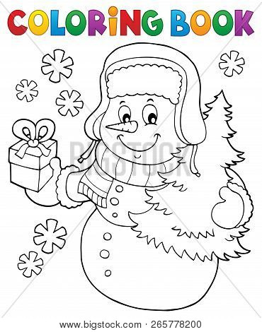Coloring Book Snowman Topic 6 - Eps10 Vector Illustration.
