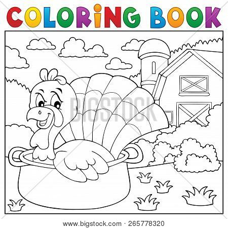 Coloring Book Turkey Bird In Pan Theme 2 - Eps10 Vector Illustration.