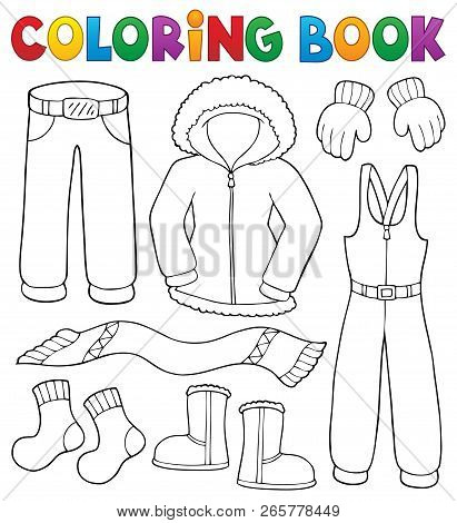 Coloring Book Winter Clothes Topic Set 1 - Eps10 Vector Illustration.