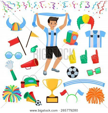 Soccer Fan Vector Football Character People With Sports Hand Foam And Soccerball Illustration Set Of