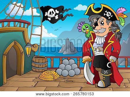 Pirate Ship Deck Topic 5 - Eps10 Vector Illustration.