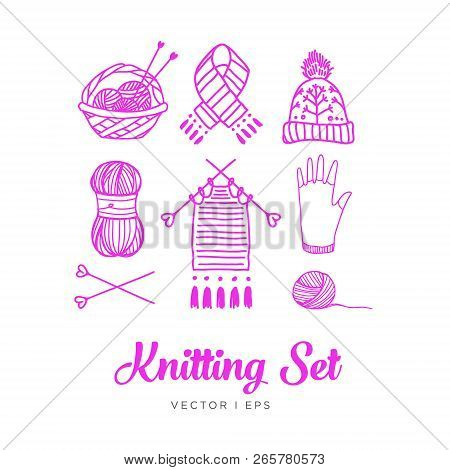 Hand Drawn Outline, Knitting Set. Clew, Yarn, Wool, Knitting Needles, Thread, Basket, Knit Work, Hat