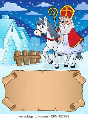 Small Parchment And Sinterklaas On Horse - Eps10 Vector Illustration.