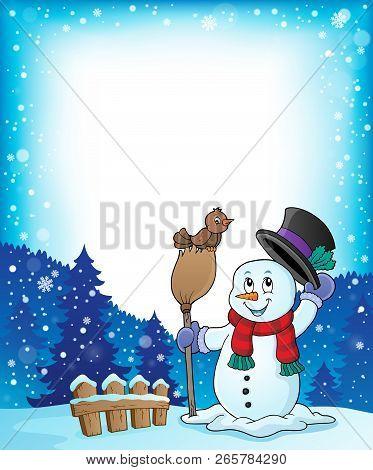 Winter Snowman Subject Frame 1 - Eps10 Vector Illustration.