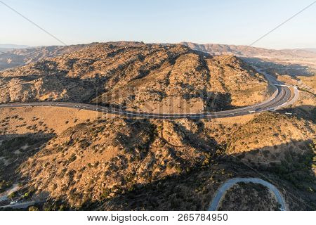 Aerial view of Route 118 freeway and Rocky Peak Park between Simi Valley and the San Fernando Valley in Los Angeles, California.