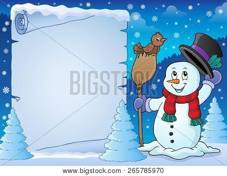 Winter Snowman Subject Parchment 2 - Eps10 Vector Illustration.