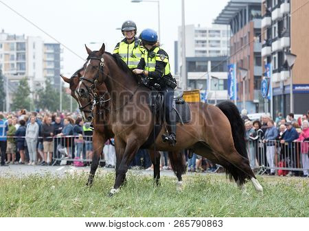 Leeuwarden, The Netherlands, August 19, 2018: Dutch Police In The Cultural Capital Of The World Of 2
